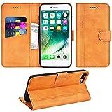 Adicase iPhone 7 Plus Hülle Leder Wallet Tasche Flip Hülle Handyhülle Schutzhülle für Apple iPhone 7 Plus / 8 Plus 5,5 Zoll (Braun)