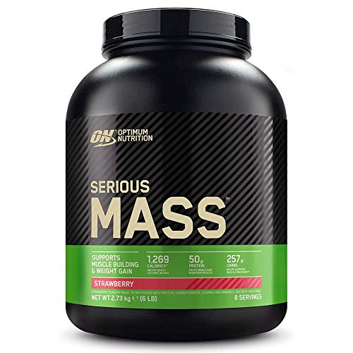 Optimum Nutrition ON Serious Mass Hochkalorisches Weight Gainer Protein Pulver mit Kohlenhydrate, Whey Protein, Vitaminen, Kreatin und Glutamin, Strawberry, 8 Portionen, 2,73kg
