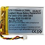 DC 3.7V 1150mAh Lithium Polymer Rechargeable Battery for Logitech Wireless Mouse G403 G703 G900 G903 Prodigy RGB 533-000130
