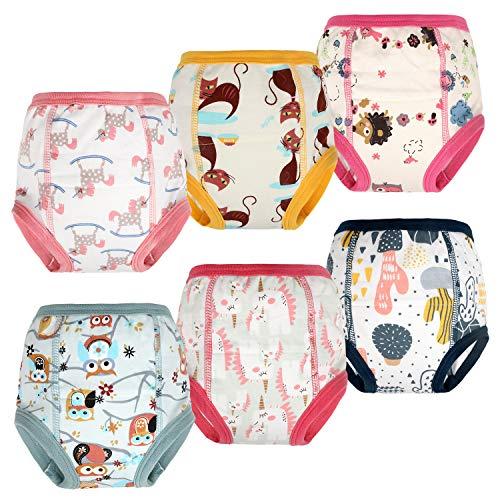 Flyish Packung mit 6 Kleinkind Töpfchen Trainingshose Baby Trainingshose Kinder Trainingswäsche Baby Unterwäsche Toilettentraining Unterwäsche