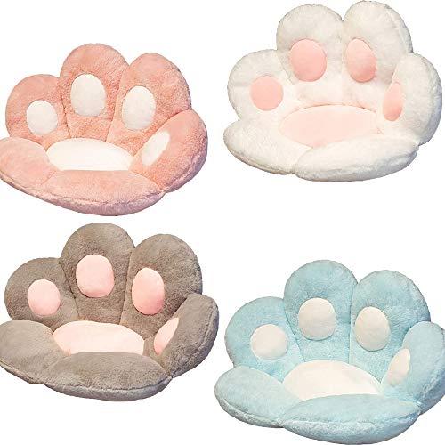 Cute Seat Cushion, Cat Paw Shape Lazy Sofa Office Seat Cushion Plush Skin-Friendly Floor Mat Home Decoration (Grey)