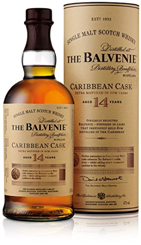 The Balvenie Carribean Cask Single Malt Scotch Whisky 14 Jahre mit Geschenkverpackung (1 x 0,7 l)