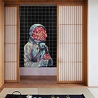 花 宇宙飛行士 のれん 目隠し カーテン 部屋仕切り 間仕切り 遮光 おしゃれ 86x143cm