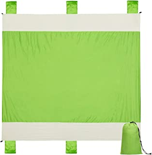 Alomidds Beach Blanket Sand Mat Camp Blanket Large Compact 6 Adults, Portable, Quick Drying Blanket, Corner Pockets, Loops, Polyester, Best for Park Hiking Outdoor Activities (Green, 78''x86'')