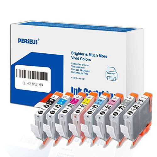 PERSEUS Cartucho Tinta Compatible con Canon CLI-42 BK C M Y PC PM GY LGY Tinta para PIXMA PRO-100, PRO-100S Impresora, CLI42 Pack of 8