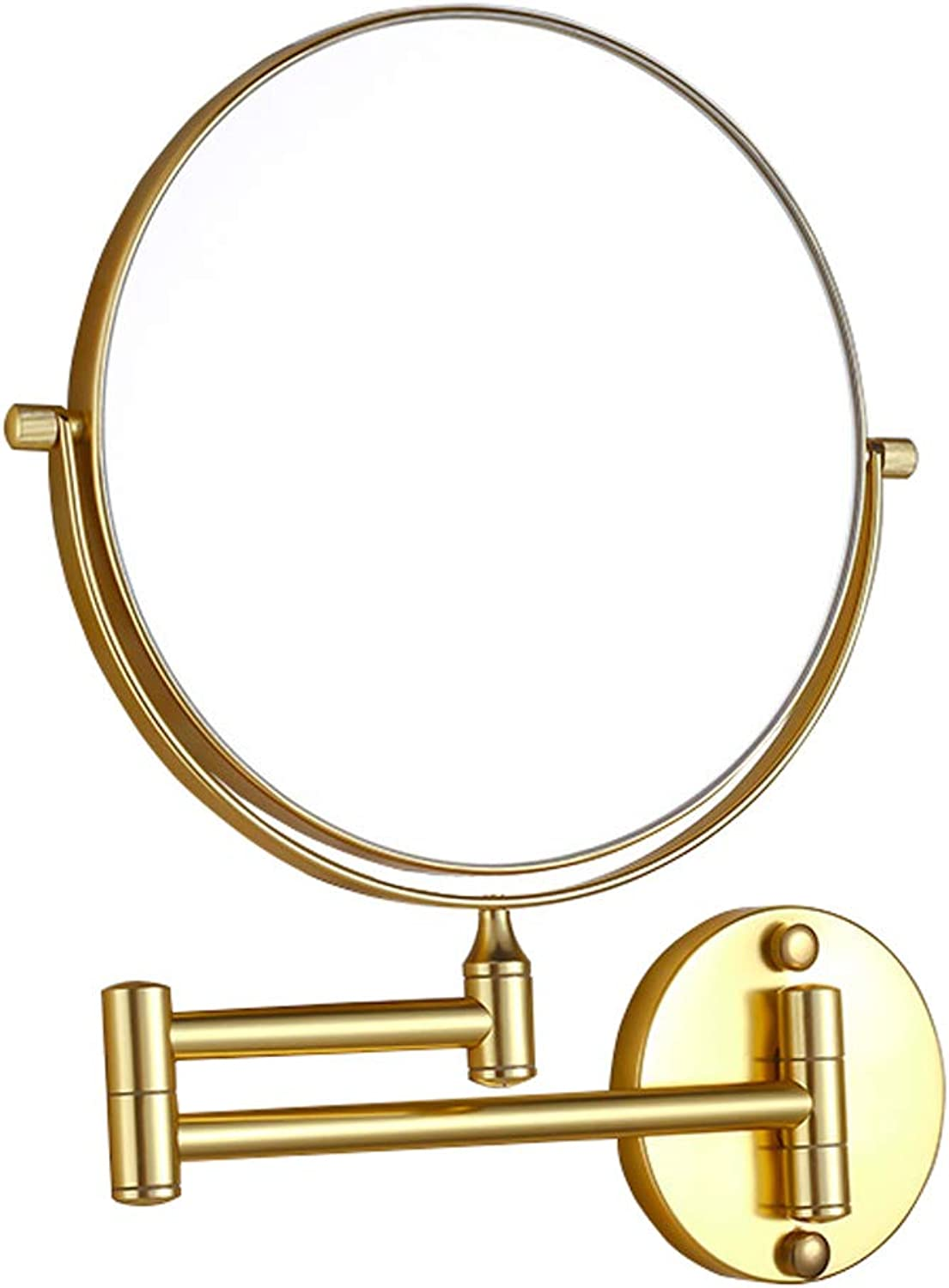 Wall Mounted Vanity Mirror - with 3X Magnification 2-Sided Swivel Shaving Bathroom Makeup Bedroom Decorative Mirror gold   8-inch