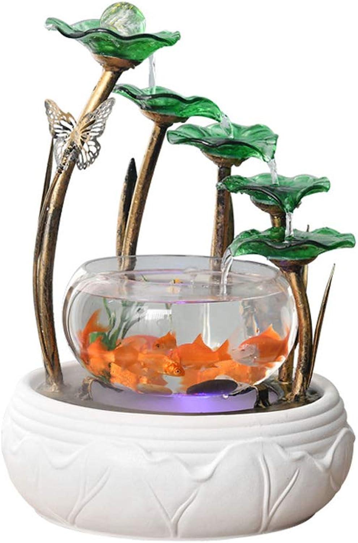 Aquarium Aquarium Home Small Living Room Aquarium Water TV Cabinet Decoration Ceramic Fountain Desktop Humidifier CreativeA