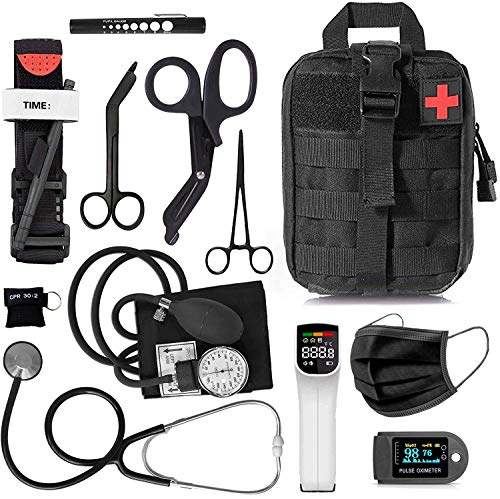 ASA Techmed Tactical Black First Responder Triage Kit Molle Military Style EMT Medical Pouch (Deluxe - Mask)