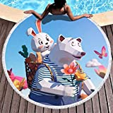Chanpin - Toalla de playa con borlas para niñas y niños y mujeres, diseño de oso polar, poliéster, Blanco, 59 inch