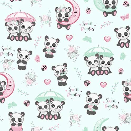 11,99€/m Panda 100% Baumwolle Baumwollstoff Kinder Meterware Handwerken Nähen Stoff (Panda Regenschirm Türkis, 100x160cm (11,99€/m))