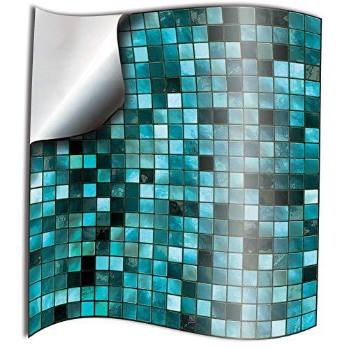 Tile Style Decals 24 stück Fliesenaufkleber (TP3-4-Turquoise)| Mosaik Wandfliese Aufkleber für 10x10cm Fliesen | Fliesen-Aufkleber Folie | Deko-Fliesenfolie für Küche u. Bad (10cm 24 stück, Türkis)