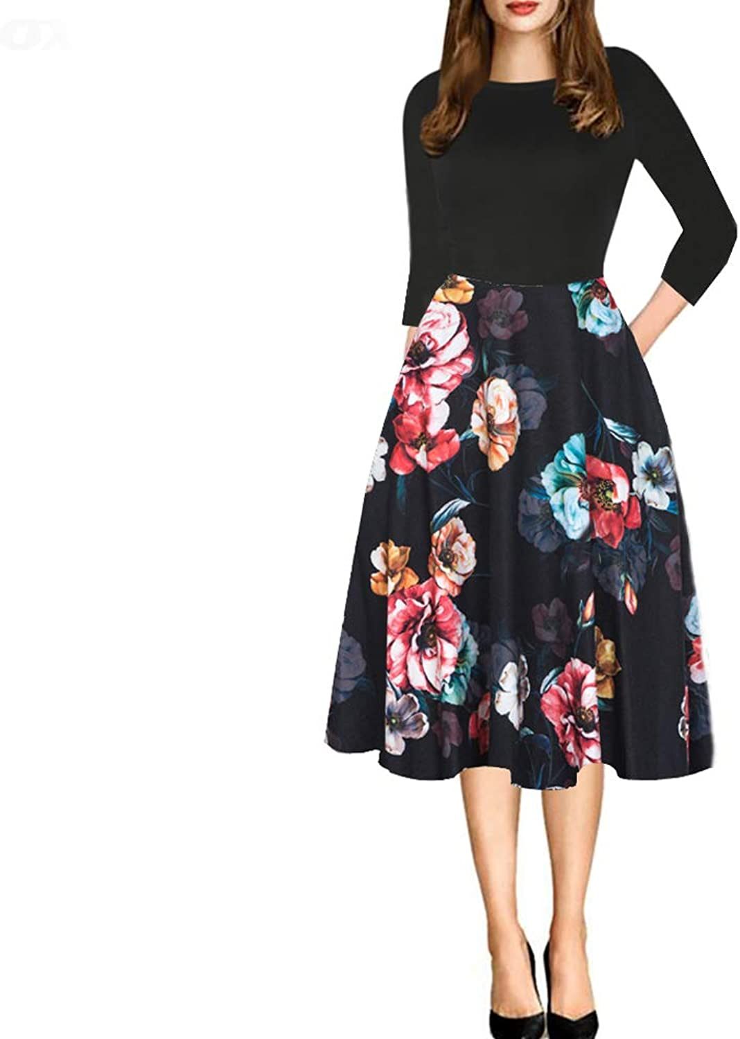 YISHIWEI Women's Pocket Vintage Patchwork Flowers Casual Party Flared Dress