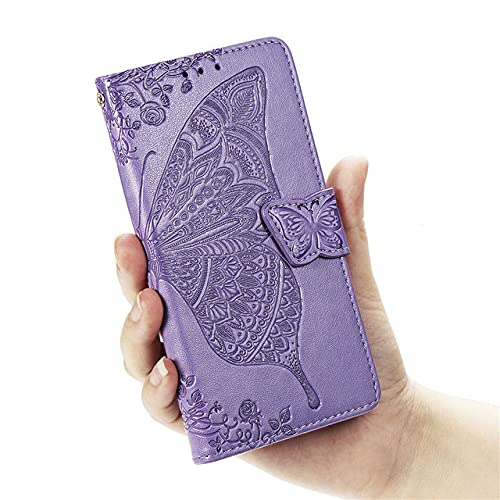 Butterfly Wallet Flip Case For XiaomiNote 10 Pro 9 9A 9S 5 Plus 6 6A 7A 8A 8T Note 5A Prime 4 4X 5 7 8 9 Pro 9T 9C Covers,Light Purple,for Redmi Note 10 Pro 4G