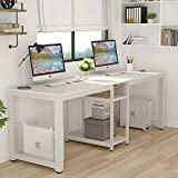Tribesigns 78 Inches Computer Desk, Extra Large Two Person Office Desk with Shelf, Double Workstation Desk for Home Office(White)