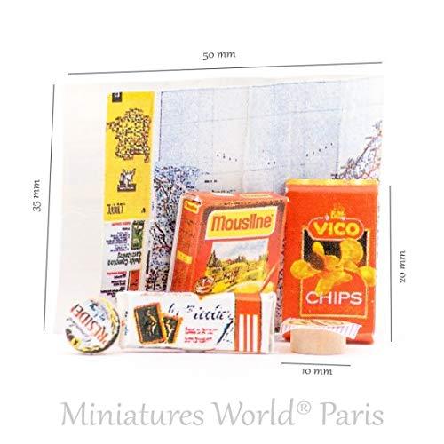 Miniatures World - Set van 5 voedselverpakkingen en een papieren kaart van Frankrijk voor miniatuurdecors en poppenhuizen op schaal 1:12