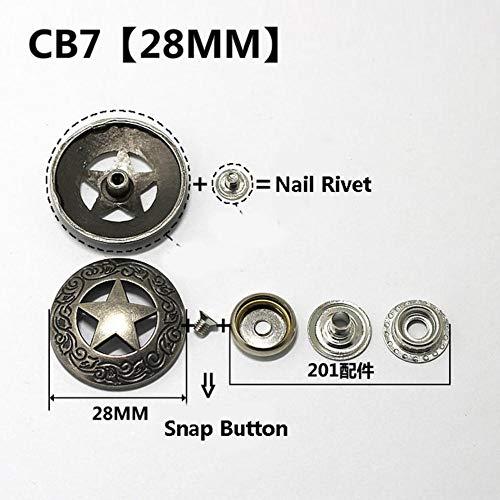 Knoop Zilver Metalen Knopen Nagel Klinknagel Met Kraal Decoratie voor Leathercraft Zak Drukknoop Leer Naai-accessoires-2 stuks, 2 stuks CB7 30 MM, Drukknoop