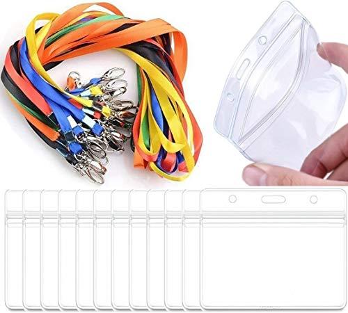 ResPai Ausweishalter Kartenhülle Ausweishülle mit Schlüsselband Lanyard Business Ausstellung Büro Ausweishülle Namensschild Band Kartenhalter mit Schlüsselband Tragbare Badge,24pcs(Horizontal)