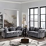 LUMISOL Mid Century Upholstered Sofa Set, 2 Pieces Tufted Velvet Upholstered Loveseat, 3 Seat Sofa Roll Arm Classic Chesterfield Sofa Set and 5 Pillows Included