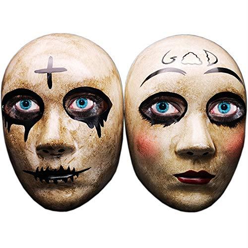 Grey Cross & God Horror Killer Purge Máscara de Pareja para Hombres, película The Purge Anarchy, Fiesta de Disfraces de Disfraces de Halloween, se Adapta a la mayoría de Adultos y Adolescentes