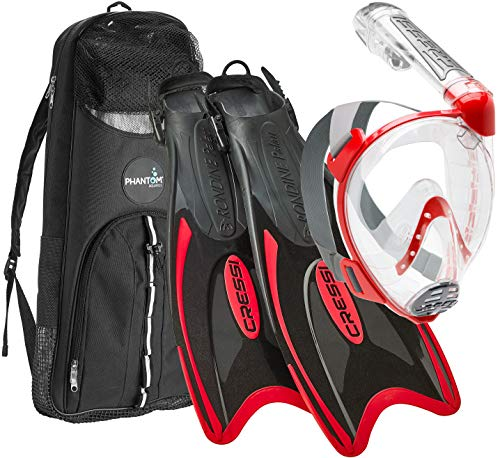 Cressi Italian Designed Premium 180° Full Face Snorkel Mask with Advanced Breathing System - Panoramic Side Snorkel Set Design - and Palau Long Snorkeling Fins and Snorkel Set Gear Bag, Red - ML