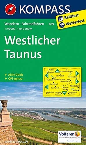 Westlicher Taunus 1 : 50 000: Wanderkarte mit Radtouren. GPS-genau. 1:50000 (KOMPASS-Wanderkarten, Band 839)