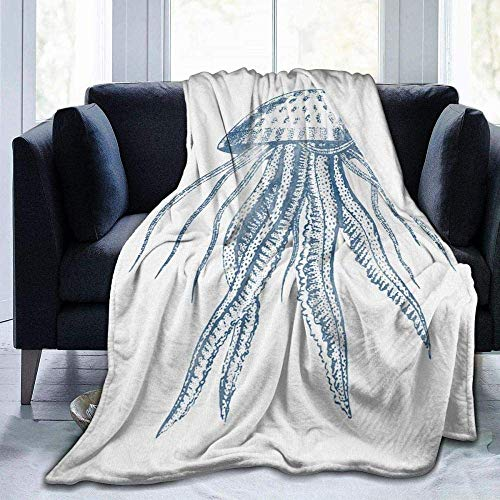 Blanket Throws Sofa Bed Blankets Throw,Reversible Cuddly Blanket Made of Throw Over Sofa Bed Octopus Ink Drawing Aged Pixel -Bed Throws
