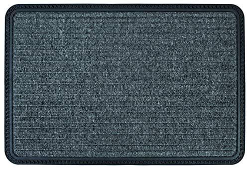 ASTRA Fussmatte - Sauberlauf - Schmutzfangmatte - Outdoorfußmatte - Stufenmatte - Stufenteppich geeignet - strapazierfähige Türmatte - 40 x 60 cm - grau