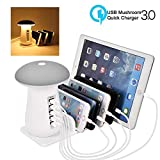 Tempo USB Charging Station, 5-Port USB Multi Device Charging Dock Desktop Charging Stand with Mushroom LED Night Light for Kindle iPhone Apple Cell Phone and Android Devices-Warm White