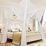 Souarts Moskitonetz Moskito Fliegennetz Baldchin Mückenschutz für Doppelbetten Kinderzimmer Weiß - 2