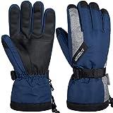 LANYI 手袋 防寒 バイク グローブ スキーグローブ スノボー スノーボード メンズ レディース 自転車 ランニング 登山 防水 防風 保温 アウトドア 厚手 中綿 S-XL (ネイビー, M)