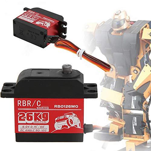 Servo de Coche RC, 26KG 1500μs/330hz 2BB Rodamiento Impermeable High Torsion Metal Gear Sistema servo Digital para 1/8 1/10 Robot Control Remoto Barco de orugas(#1)