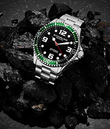 Stuhrling Original Mens Analog Dive Watch - Sports Watch Water Resistant 100 Meters - Watches for Men Aqua-Diver Stainless Steel Link Bracelet Mens Watches Collection