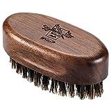 BFWood Petite brosse à barbe de voyage – En soies de sanglier naturelles et bois de noyer noir