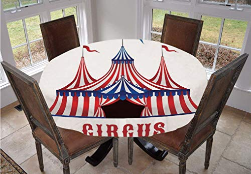 Angel Bags Circus Decor Round Tablecloth,Striped Circus Tent with Flags on the Top and Stars over the Entrance Decorative Polyester Table Cloth,90 Inch,for Indoor and Outdoor Events