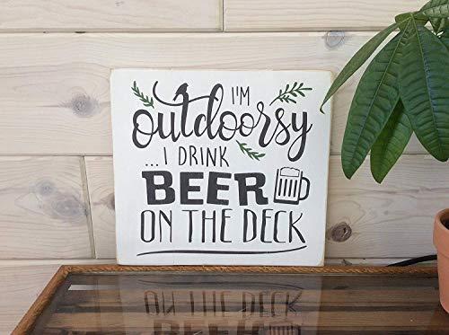 Im buitenshuis Ik drink bier op het dek Pallet Teken Deck Teken Bier Teken Cottage Decor Lake House Decor Beach House Decor Zeggen Home Decor Wall Art Plaque Teken Presenten