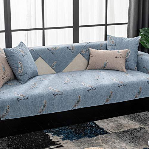 HXTSWGS Four Seasons Funda Universal para sofá Funda para sofá Funda para Asiento Cojín para Asiento Toalla de sofá Antideslizante Sala de Estar-Azul Gray_W110xL210cm
