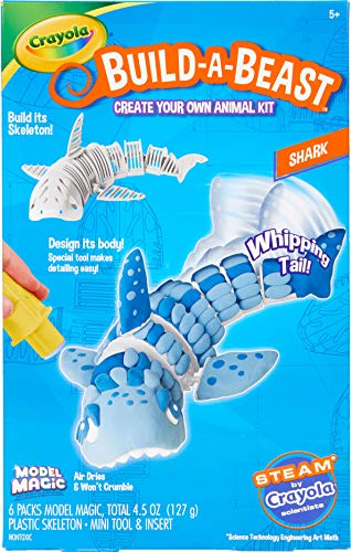 Crayola Build A Beast Shark, Model Magic Craft Kit, Stocking Stuffers for Boys & Girls