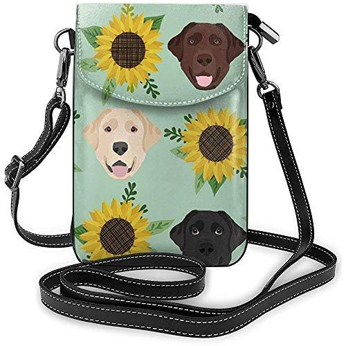 Inner-shop Smartphone Wallet Crossbody Handy Geldbörse Handytasche Schultertasche Tragetaschen (Labrador Floral Sunflower Dog)