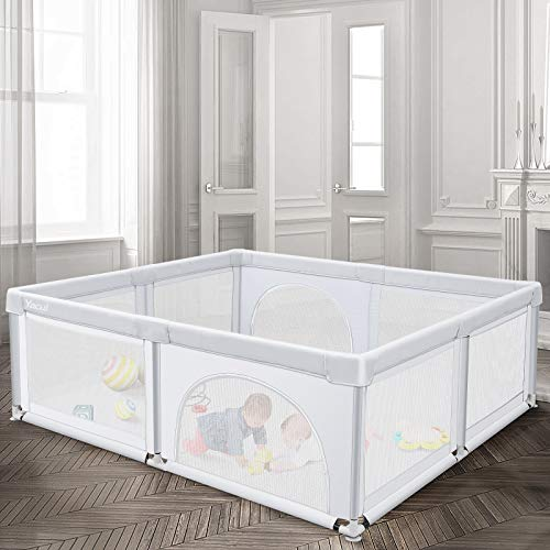 """Baby Playpen for Toddler, Yacul Extra Large Baby Playard, Infant Safety Activity Center, Sturdy Babies Playpen with Anti-Slip Suckers, Breathable Mesh Light Grey 70.9""""x59.1"""" (29 sq. Ft)"""