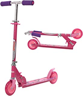 ChromeWheels Scooter for Kids, Deluxe Kick Scooters 4 Adjustable Height 2 Wheels Foldable, Best Gifts for Boys Girls, Age 3-8 Years Old, 110lb Weight Limit, Pink