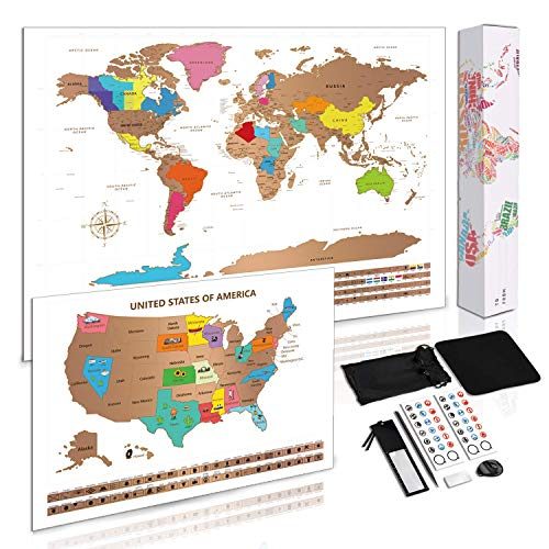 Scratch Off Map of World + Bonus Scratch Off USA Map Poster, Including Complete Accessories Set & All Country Flags, Perfect Gift for Travelers to Tracking Your Adventures, 23.5