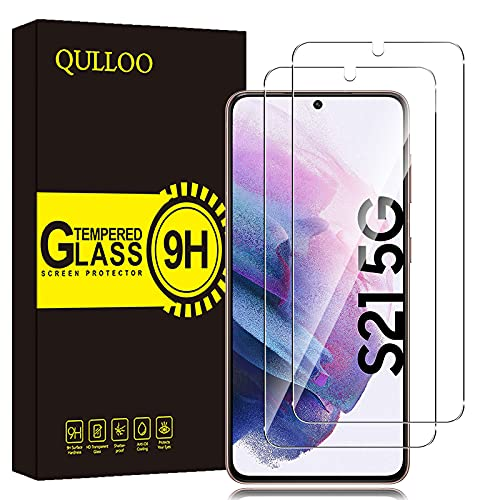 QULLOO 【2枚セット】for Galaxy S21 5G 用 フィルム 強化ガラス 旭硝子製 Galaxy S21 SC-51B/SCG09 用 ガラスフィルム 全面保護 硬度9H 飛散防止 指紋防止 自動吸着 気泡防止 液晶保護フィルム