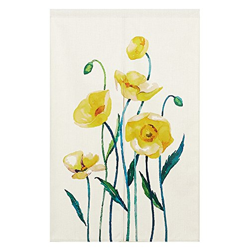 BAIHT HOME Cotton Linen Japanese Noren Doorway Curtain Tapestry with Yellow Flower Screen Door Blind 33.5