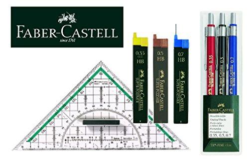 Faber-Castell Clever Geo 130622 TK-FINE Juego de portaminas (3 unidades, 0,35 mm, 0,5 mm y 0,7 mm), portaminas + 3 estuches...