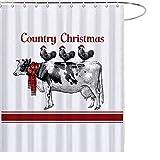 JoneAJ Vintage Kuh Huhn Weihnachten Bauernhof importiert Polyestergewebe dicken Regenmantel wasserdichte Technologie Duschvorhang 71x71 Zoll Keine chemischen Geruch 12 Kunststoffhaken