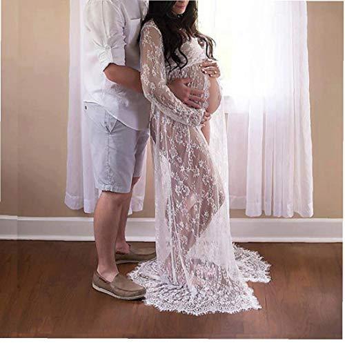 NIDONE De Manga Larga de Maternidad Fotografía Vestido de Cuello en V de Encaje Vestido Maxi de Maternidad para Las Mujeres Embarazadas Blanco L