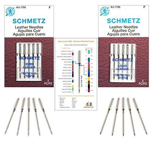 Leather Needles for Sewing Machine Combo Pack   Sizes (100/16 and 110/18)   Perfect for Leather Fabrics   Fits: Bernina, Brother, Necchi, Elna, Juki, Kenmore, Singer Sewing Machines by Apartment ABC