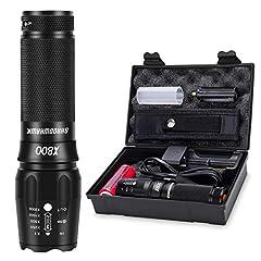 Shadowhawk X800 Led lampe de poche, super lumineux 4000 lampes de poche CREE, rechargeable lampe de poche tactique avec zoom pour le camping, la randonnée et les urgences (avec 500mh 26650 batterie)