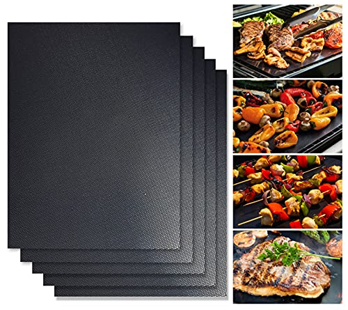 5-Piece Grill Mat Set, Non Stick BBQ Grill Mats, Easy to Clean, Reusable Grill Accessories, Works on Charcoal, Electric and Gas Grill etc Multi-Purpose -15.7x13 Inches (Black)