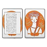 igsticker kindle paperwhite 第4世代 専用スキンシール キンドル ペーパーホワイト タブレット 電子書籍 裏表2枚セット カバー 保護 フィルム ステッカー 015986 女の子 花冠 オレンジ